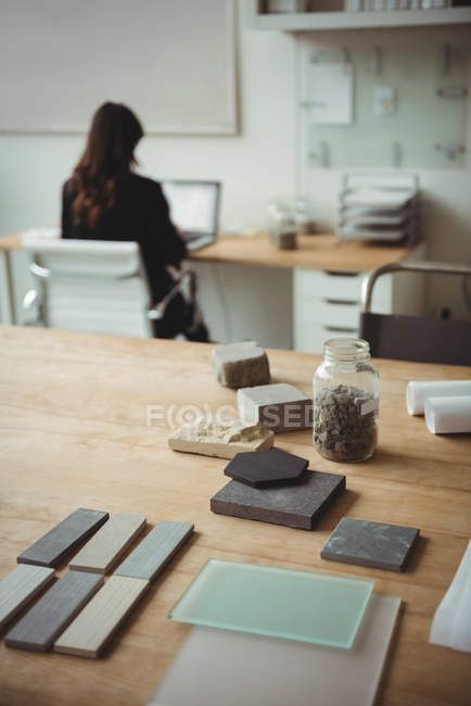 Stone slab arranged on table in office — Stock Photo
