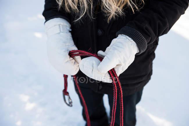 Metà di sezione di musher femminile che tiene la pettorina per cani da slitta su un paesaggio innevato — Foto stock