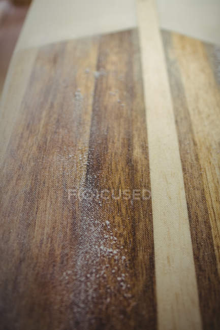 Close-up of sanded surfboard in workshop — Stock Photo