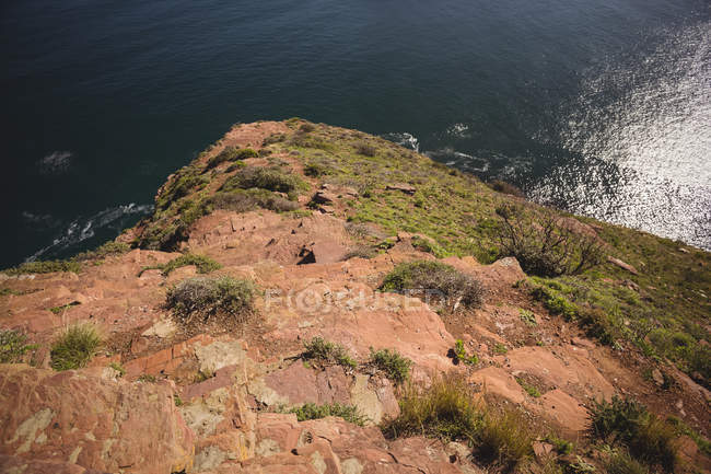 High angle view of cliff and sea water — Stock Photo