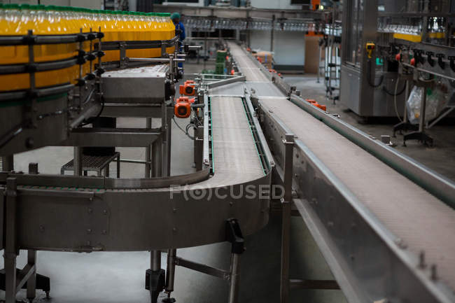 High angle view of production lines in juice factory — Stock Photo