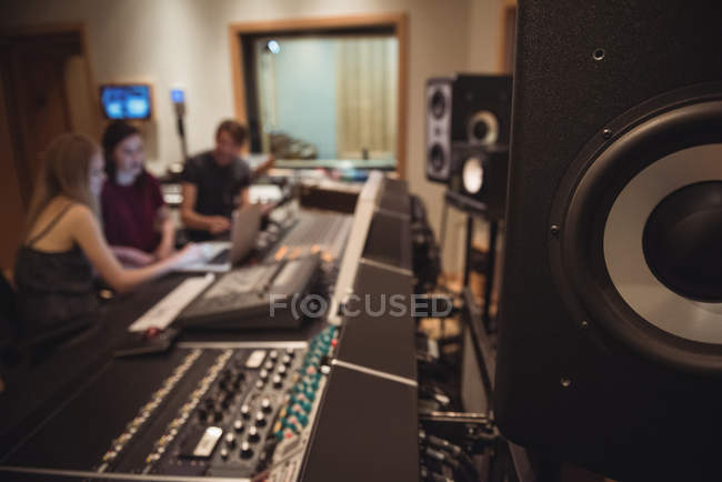 Close-up of speaker in music studio — Stock Photo