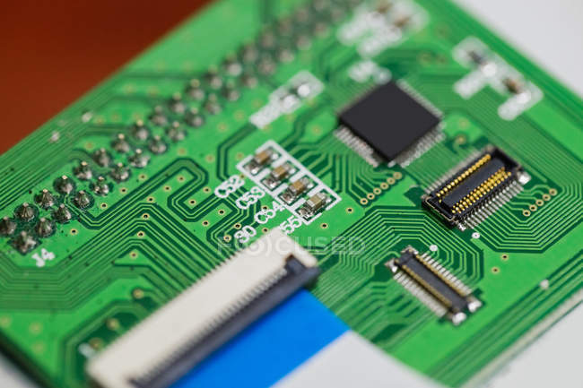 Close-up of a circuit board with microchips — Stock Photo