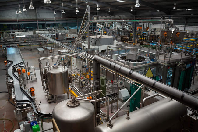 High angle view of production lines and machinery in manufacturing industry — Stock Photo