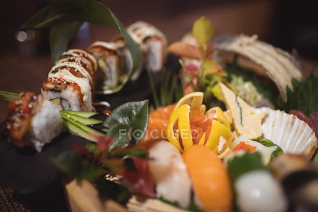 Close-up of various sushi in restaurant — Stock Photo