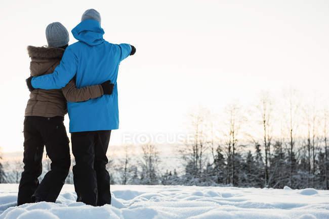 Casal dançando e apontando para uma distância na paisagem de neve — Fotografia de Stock