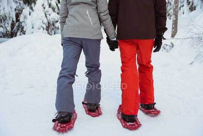 Seção de baixa de casal esquiador andando na montanha coberta de neve — Fotografia de Stock