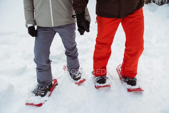 Seção de baixa de casal esquiador com sapatos de neve na paisagem de neve — Fotografia de Stock