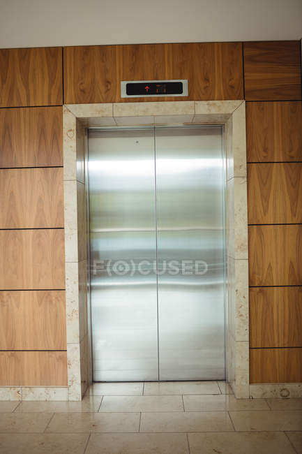 Interior view of lift in office wall — Stock Photo