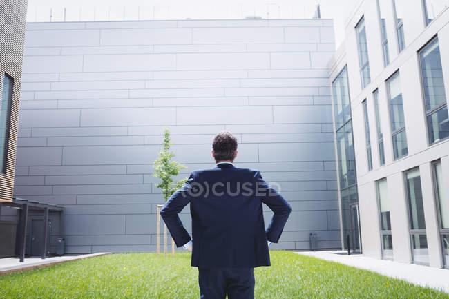 Vue arrière d'un homme d'affaires debout avec mains sur les hanches à l'extérieur du bureau bâtiment — Photo de stock