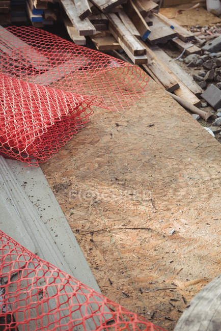 Close-up of metallic net at construction site — Stock Photo