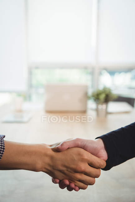 Business executives shaking hands with each other in office — Stock Photo