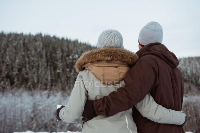 Вид сзади на пару стоящую и держащую кружку на заснеженной горе — стоковое фото