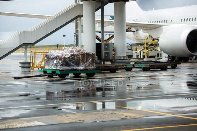 Veículo do aeroporto que transporta bagagem para avião na pista — Fotografia de Stock