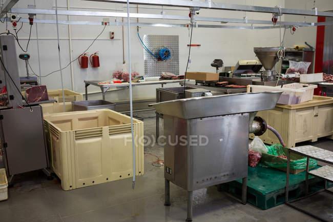 Empty worktop in industrial meat factory interior — Stock Photo