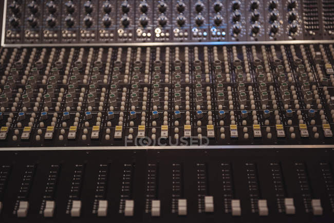 Close-up of sound mixer in a recording studio — Stock Photo