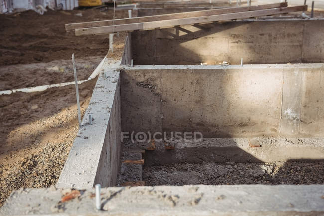 Concrete foundation at construction site — Stock Photo