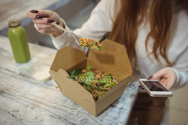 Mid-section of woman using mobile phone while eating salad - foto de stock