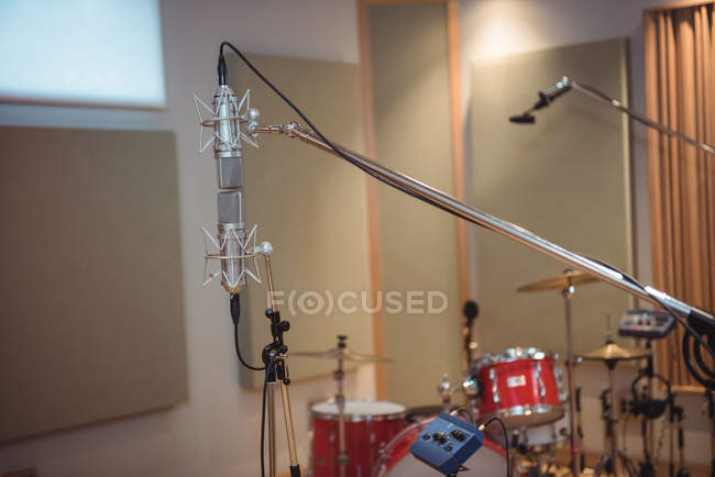 Close-up of microphone in recording studio — Stock Photo
