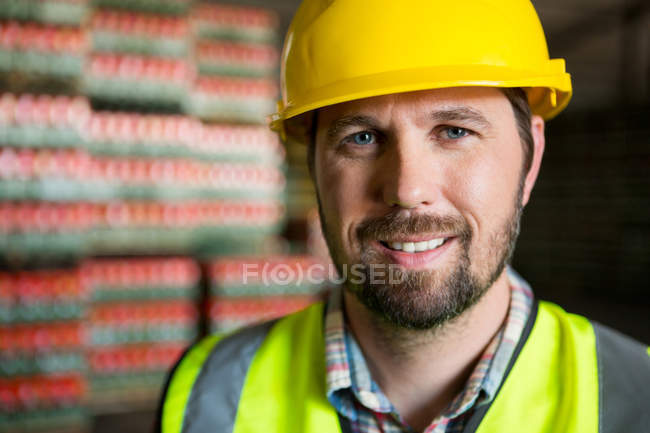 Close up portrait of worker in warehouse — Stock Photo