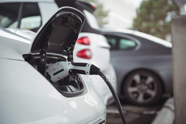 Закри автомобіля, будучи звинувачений електричного автомобіля зарядний пристрій в зарядний — стокове фото