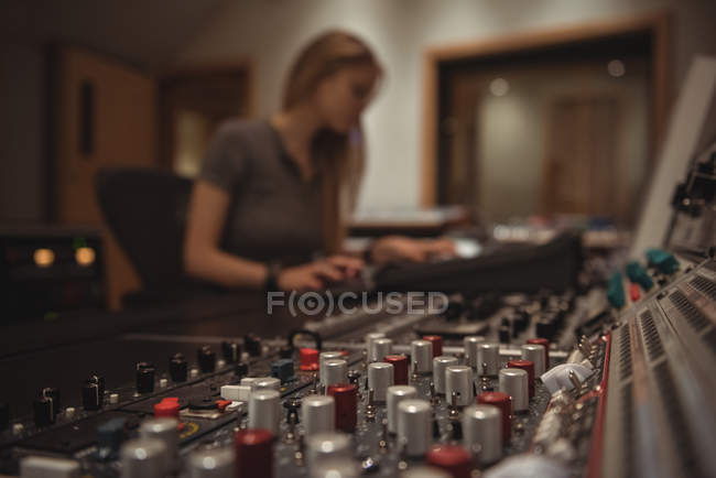 Close-up of sound mixer in a studio — Stock Photo
