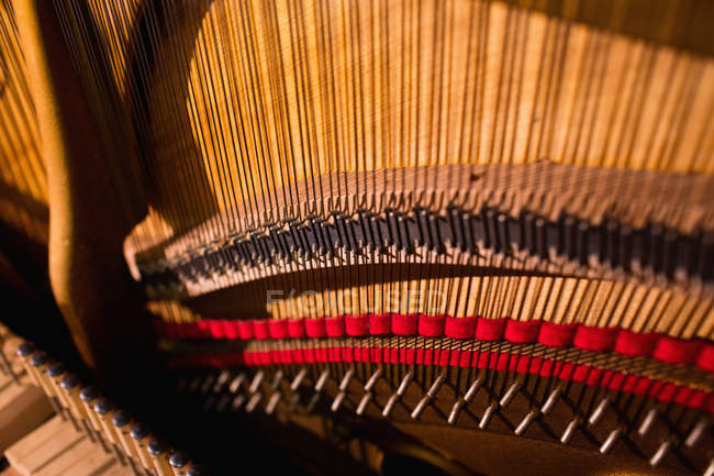 Close-up of open vintage piano strings — Stock Photo