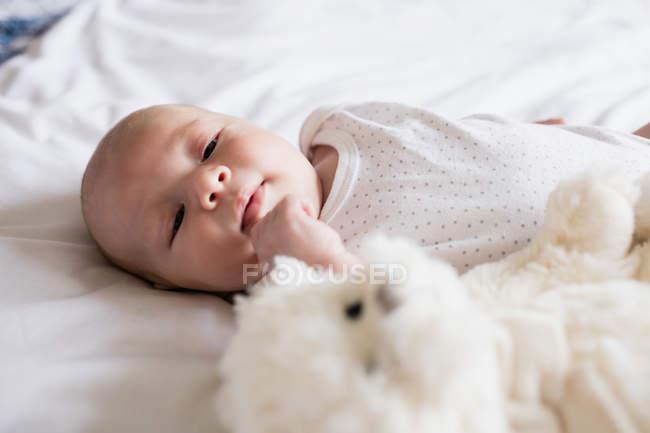 Adorable bebé acostado en la cama con osito de peluche en casa - foto de stock
