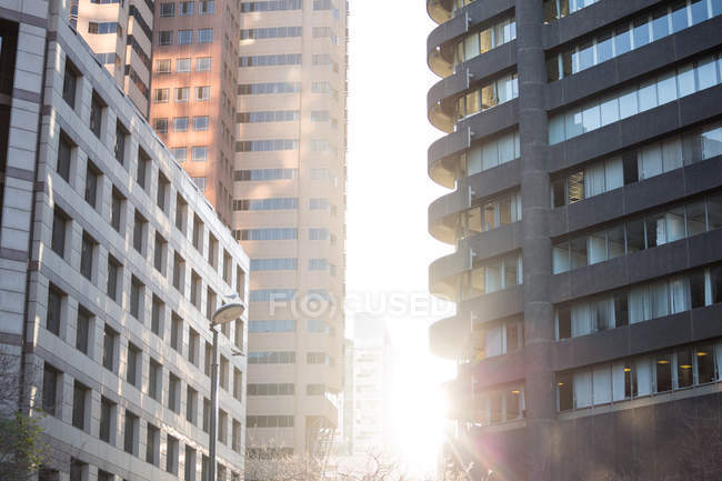 Urban scene of office buildings in daylight — Stock Photo