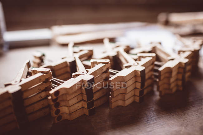 Close-up of vintage piano parts in workshop — Stock Photo