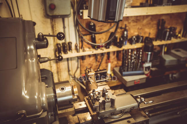 Old horologists workshop with clock repairing machinery and tools — Stock Photo