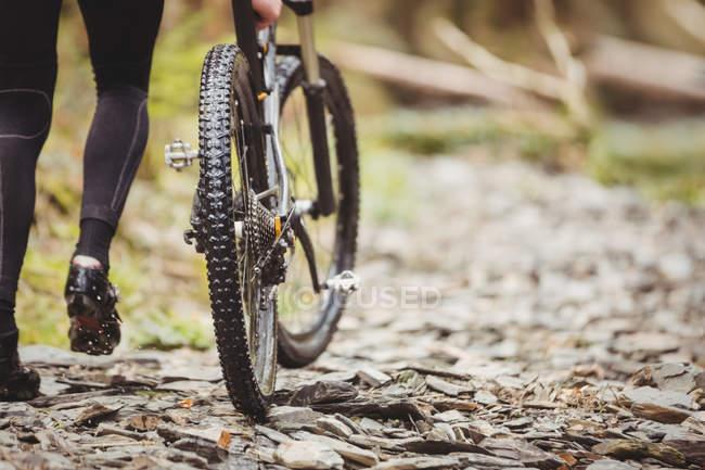 Низкий участок велосипедной прогулки с велосипедом по тропинке — стоковое фото