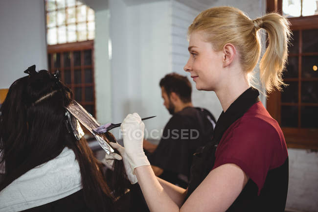 Retrato de una peluquera sonriente teñiendo el cabello de su cliente en el salón - foto de stock