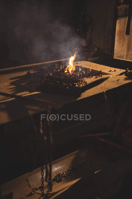 Close-up of blacksmith's forge at workplace — Stock Photo
