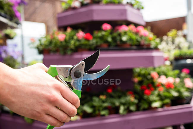 Cropped image of Female florist holding pruning shears in garden centre — Stock Photo