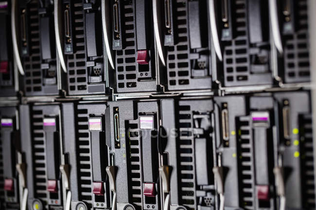 Close-up of hardware towers in server room — Stock Photo