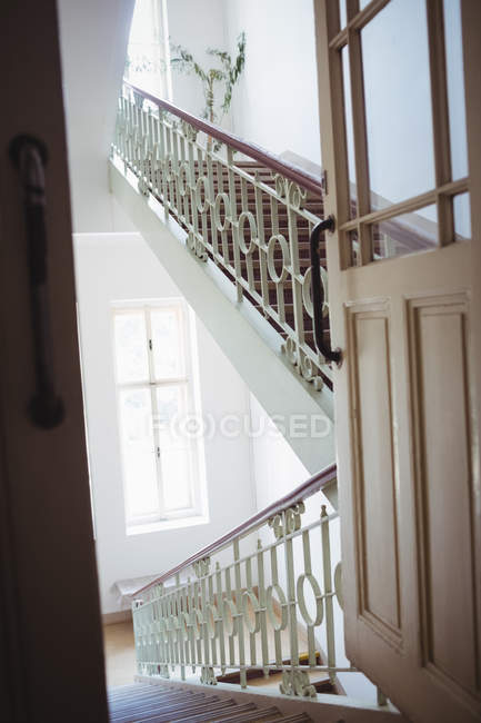 Empty modern staircase at hospital interior — Stock Photo