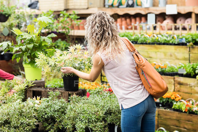 Woman checking potted plants in garden centre — Stock Photo