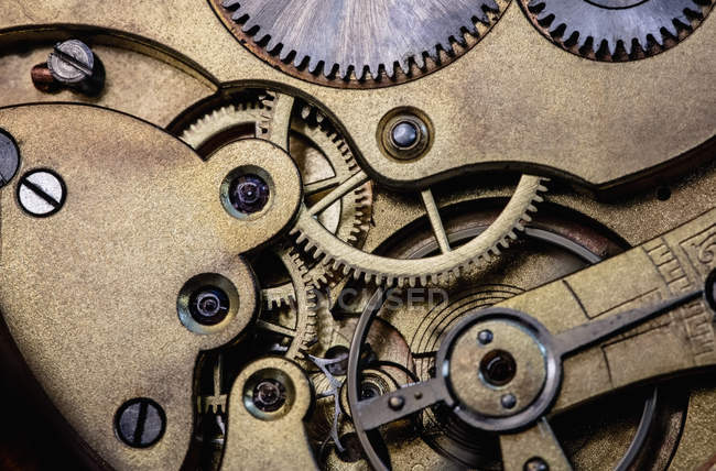 Close-up of old pocket watch machine with gears — Stock Photo