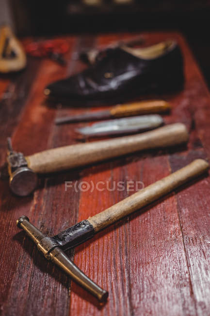 Work tools on bench in industrial workshop — Stock Photo