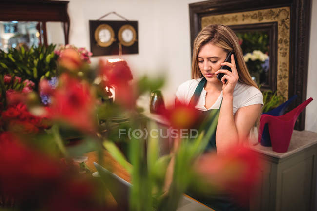 Female florist using laptop while talking on mobile phone in the flower shop — Stock Photo