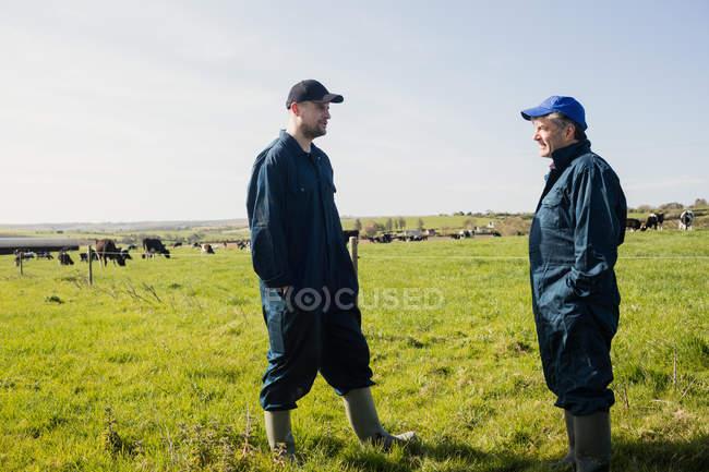 Trabalhadores agrícolas em pé no campo gramado contra o céu — Fotografia de Stock