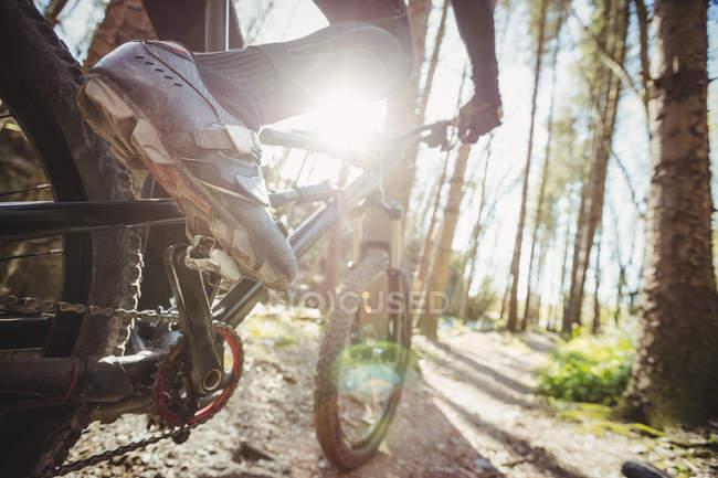 Seção de baixa de motociclista de montanha na floresta — Fotografia de Stock