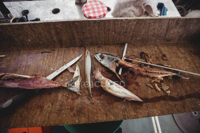 Filet de poisson sur la table en bateau — Photo de stock