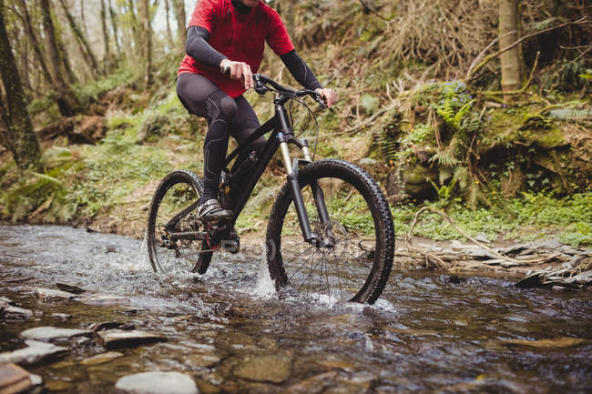 Low section of mountain biker riding in stream in forest — Stock Photo