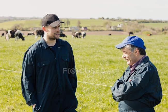 Trabalhadores da fazenda conversando em pé no campo gramado — Fotografia de Stock