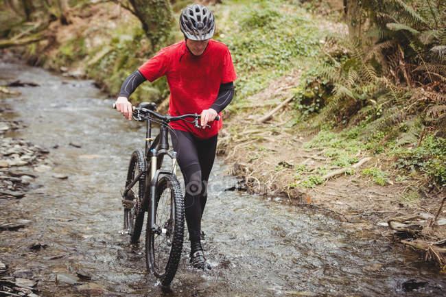 Вид спереди мужчины-байкера, идущего с велосипедом по течению в лесу — стоковое фото