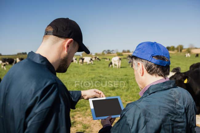 Colaboradores discutindo sobre tablet digital em campo contra céu limpo — Fotografia de Stock