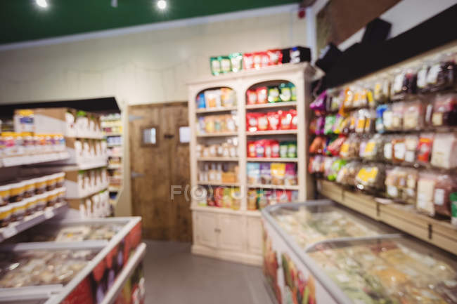 Interior view of grocery section in supermarket — Stock Photo