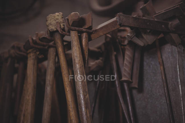 Close-up of blacksmith's tools at workplace — Stock Photo